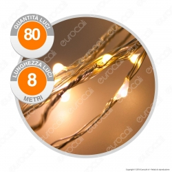 Catena Anima in Metallo con 80 Microluci LED Bianco Caldo - per Interno