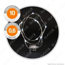 Collana Brilly 10 Micro Luci LED Bianco Freddo a Batterie