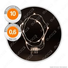 Collana Brilly 10 Micro Luci LED Bianco Caldo a Batterie