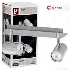 Paulmann Portafaretto Track Light Orientabile con 2 Lampadine LED 3,5W GU10