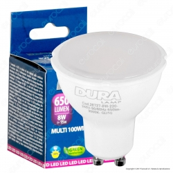 Duralamp Multi 100 Wide Lampadina LED GU10 8W Faretto Spotlight 100° - mod. 28727 / 28740 / 28760