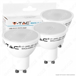 V-Tac VT-2095 Super Saver Pack Confezione 3 Faretti LED GU10 5W Spotlight 110° - SKU 7269 / 7270 / 7271
