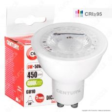 Century Dicro Shop 95 Lampadina LED GU10 6W Faretto Spotlight CRI ≥95 Dimmerabile