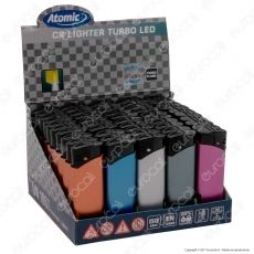 Atomic Turbo Flame Accendino Antivento con Luce LED - Box da 50 Accendini