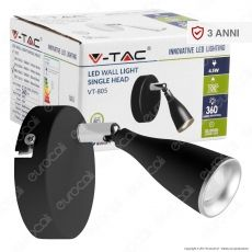 V-Tac VT-805 Lampada da Muro Wall Light LED 4,5W Colore Nero - SKU 8263 / 8265