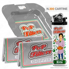 Kit Pop Filters 300 Cartine Corte Doppie Italia Silver Line + 1 Posacenere + 1 Accendino