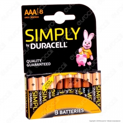 Duracell Simply Alcaline Ministilo AAA - Blister 8 Batterie