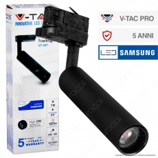 V-Tac PRO VT-407 Track Light LED COB 7W Colore Nero Chip Samsung - SKU 353