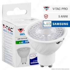 V-Tac PRO VT-227D Lampadina LED GU10 6,5W Faretto Spotlight Chip Samsung Dimmerabile - SKU 192 / 193 / 194