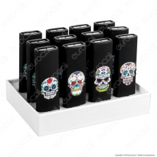 Champ Black Skull Accendino USB Ricaricabile Antivento - Box di 12 Accendini