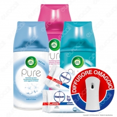 Kit Pulizia: Air Wick Diffusore + Air Wick Ricariche Auto Spray Assortite + Napisan Salviette Igienizzanti