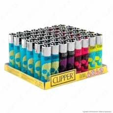 Clipper Large Fantasia Skulls Flash - Box da 48 Accendini