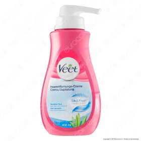 Veet Crema Depilatoria Silk & Fresh Technology per Pelli Sensibili - Flacone da 400ml