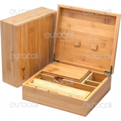 Spliff Box Stazione di Rollaggio in Bamboo - Black Leaf