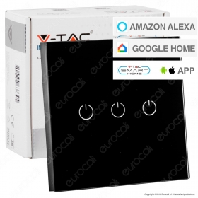 V-Tac Smart VT-5005 Interruttore Touch Wi-Fi Colore Nero con 3 Tasti - SKU 8425