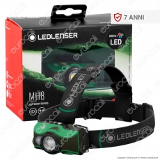 Ledlenser MH8 Torcia LED Headlight Multicolore e Multifunzione Colore Verde - Torcia Frontale - mod. 500951