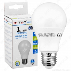 V-Tac VT-2011 Lampadina LED E27 9W Bulb A60 3 Step Dimmerabile - SKU 4447 / 4448 / 4449