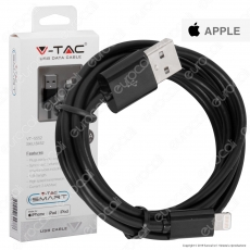 V-Tac VT-5552 USB Data Cable Lighting Certificato MFI Cavo Colore Nero 1,5m - SKU 8452