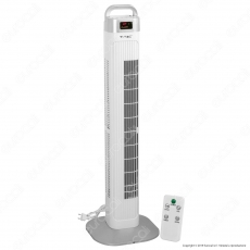 V-Tac VT-5536 Tower Fan 910mm con Display Temperatura e Telecomando 55W Colore Bianco - SKU 7900