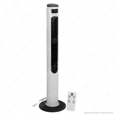 V-Tac VT-5547 Tower Fan 1160mm con Display Temperatura e Telecomando Colore Bianco Lucido - SKU 7902