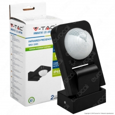 V-Tac VT-8083 Sensore di Movimento a Infrarossi IP65 per Lampadine LED Colore Nero - SKU 1501