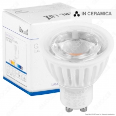 Ideal Lux Lampadina LED GU10 8W COB Faretto Spotlight in Ceramica e Vetro 38° - mod. 189062