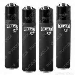 Clipper Micro Fantasia Soft Black - 4 Accendini