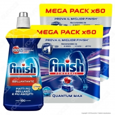 Kit Lavastoviglie: Finish Powerball Quantum Max per Lavastoviglie 2x60 pastiglie + Finish Brillantante Lemon 500ml