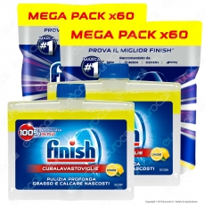 Kit Lavastoviglie: Finish Powerball Quantum Max Lemon per Lavastoviglie 2x60 pastiglie + Finish Curalavastoviglie Lemon 2x250ml