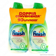 Finish PowerGel 0% per Lavastoviglie - 2 Flaconi da 900ml