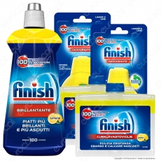 Kit Additivi Finish Lemon: Brillantante 500ml + Curalavastoviglie 2x250ml + Deodorante 2x4ml