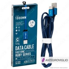 V-Tac VT-5342 Ruby Series USB Data Cable Type-C Cavo in Corda Colore Blu 1m - SKU 8630
