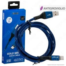V-Tac VT-5352 Gold Series USB Data Cable Type-C Cavo in Corda Colore Blu 1m - SKU 8633