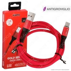 V-Tac VT-5352 Gold Series USB Data Cable Type-C Cavo in Corda Colore Rosso 1m - SKU 8634