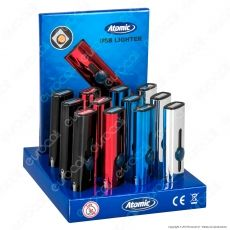 Atomic Accendino USB Ricaricabile Antivento in Metallo Lucido - Box da 13 Accendini