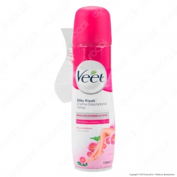 Veet Crema Depilatoria Spray Silk & Fresh Technology per Pelli Normali - Flacone da 150ml