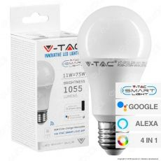 V-Tac Smart VT-5113 Lampadina LED Wi-Fi E27 11W Bulb A60 RGB+W 4in1 Dimmerabile - SKU 2752