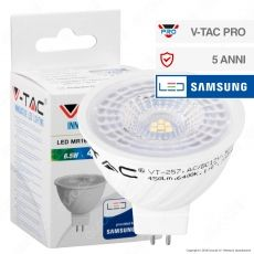 V-Tac PRO VT-257 Lampadina LED GU5.3 (MR16) 6,5W Faretto Spotlight Chip Samsung - SKU 204 / 205 / 206