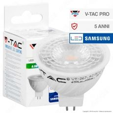 V-Tac PRO VT-267 Lampadina LED GU5.3 (MR16) 6,5W Faretto Spotlight Chip Samsung - SKU 207 / 208 / 209
