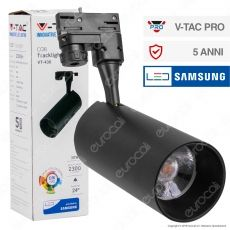V-Tac PRO VT-430 Track Light LED COB 30W CRI≥90 Colore Nero - SKU 941 / 942
