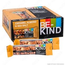 Be-Kind Snack con Caramello, Mandorle e Sale Marino - Box da 12 Barrette da 40g