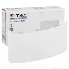 V-Tac VT-846 Applique Lampada da Muro Wall Light Bianca con 6 LED COB 6W - SKU 8613 / 8614