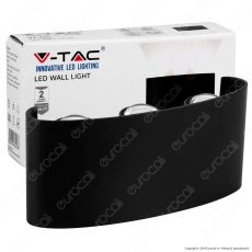 V-Tac VT-846 Applique Lampada da Muro Wall Light Nera con 6 LED COB 6W - SKU 8615