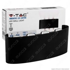 V-Tac VT-848 Applique Lampada da Muro Wall Light Nera con 8 LED COB 8W - SKU 8619 / 8620