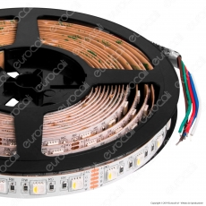 ZNLED Striscia LED 5050 Multicolore RGB+W 60 LED/Metro 24V IP20 - Bobina da 5 Metri - mod. 63551