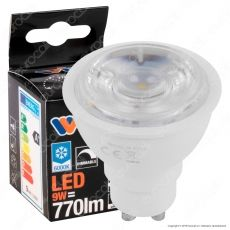 Wiva Lampadina LED GU10 9W Faretto Spotlight 38° Dimmerabile - mod. 12100422 / 12100423 / 12100424
