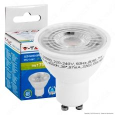V-Tac VT-2886 D Lampadina LED GU10 7W Faretto Spotlight Dimmerabile 38° - SKU 1666 / 1667 / 1668