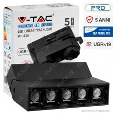 V-Tac PRO VT-416 Track Light LED SMD 12W Faretto 30° CRI≥90 Chip Samsung Nero - SKU 20000 / 20001