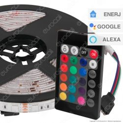 Ener-J Striscia LED Smart Wi-Fi 14,4W 60 LED/metro Multicolore RGB Dimmerabile - mod. SHA5212