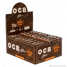 Ocb Virgin Paper Slim Roll Kit Cartine Lunghe King Size e Filtri In Carta Non Sbiancata Senza Cloro - Box da 20 Libretti
